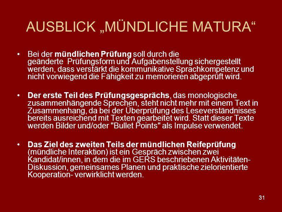 """AUSBLICK """"MÜNDLICHE MATURA"""
