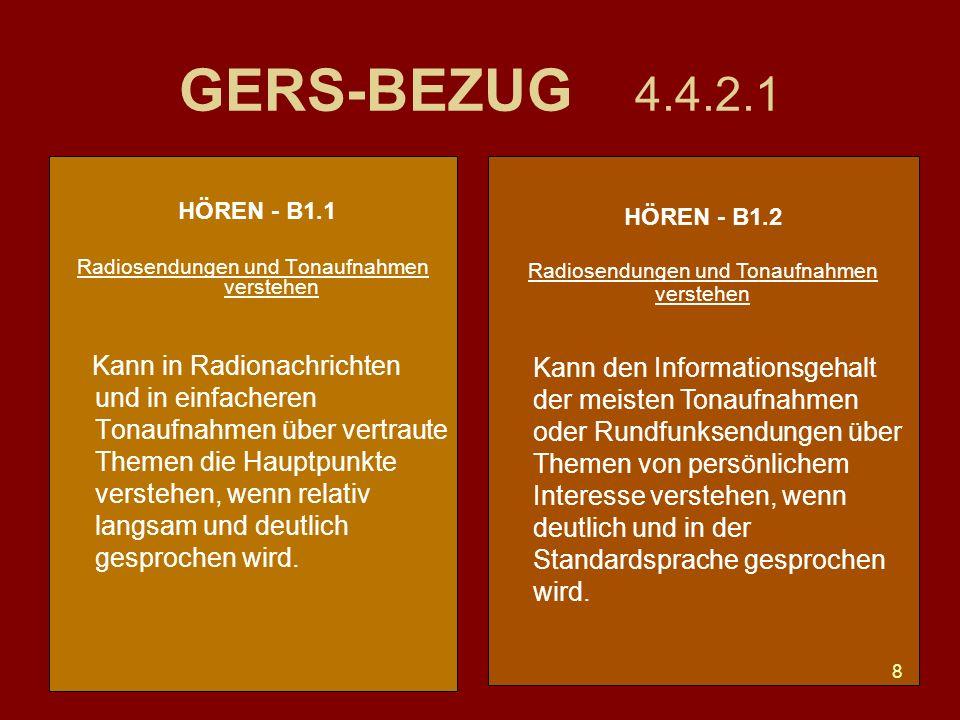 GERS-BEZUG 4.4.2.1 HÖREN - B1.1. Radiosendungen und Tonaufnahmen verstehen.