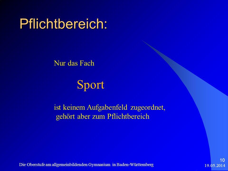 Pflichtbereich: Sport Nur das Fach ist keinem Aufgabenfeld zugeordnet,