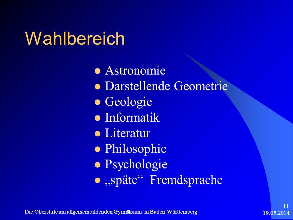 Wahlbereich Astronomie Darstellende Geometrie Geologie Informatik