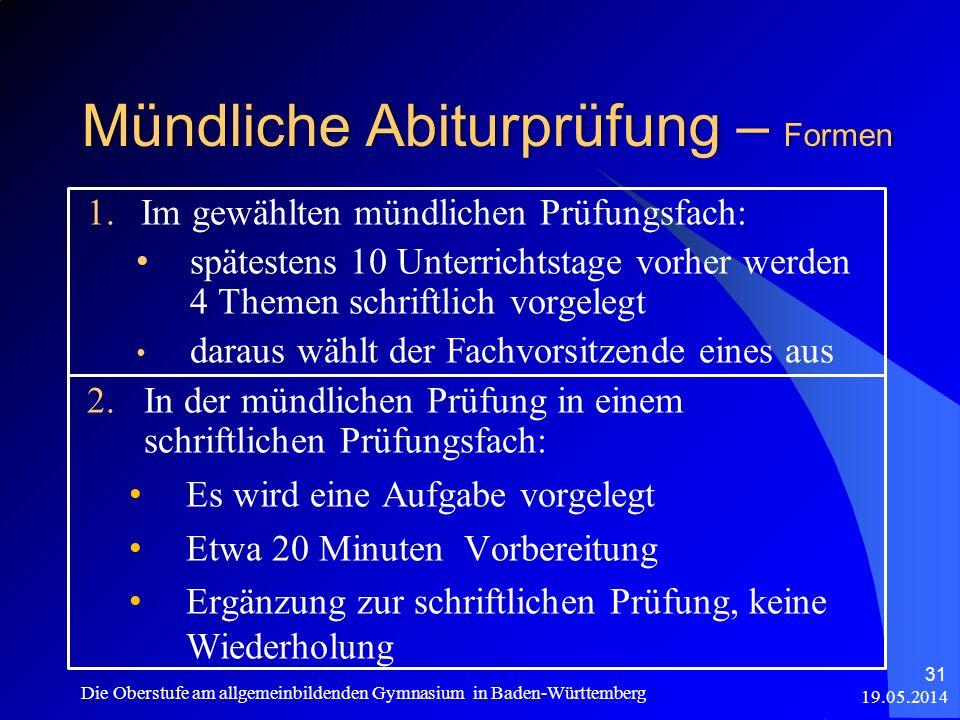 Mündliche Abiturprüfung – Formen