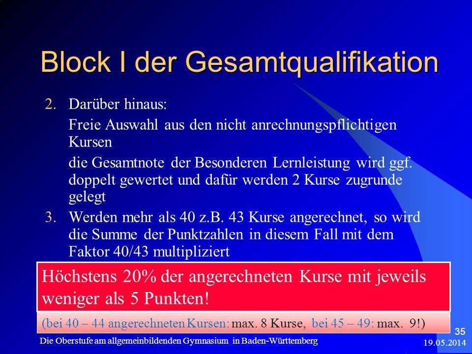 Block I der Gesamtqualifikation