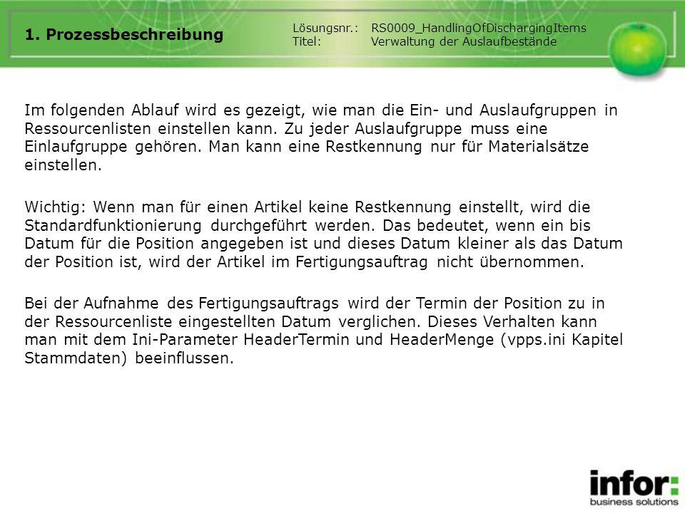 1. Prozessbeschreibung Lösungsnr.: RS0009_HandlingOfDischargingItems. Titel: Verwaltung der Auslaufbestände.