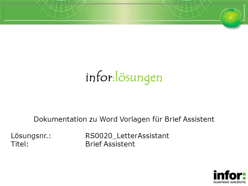 Dokumentation zu Word Vorlagen für Brief Assistent