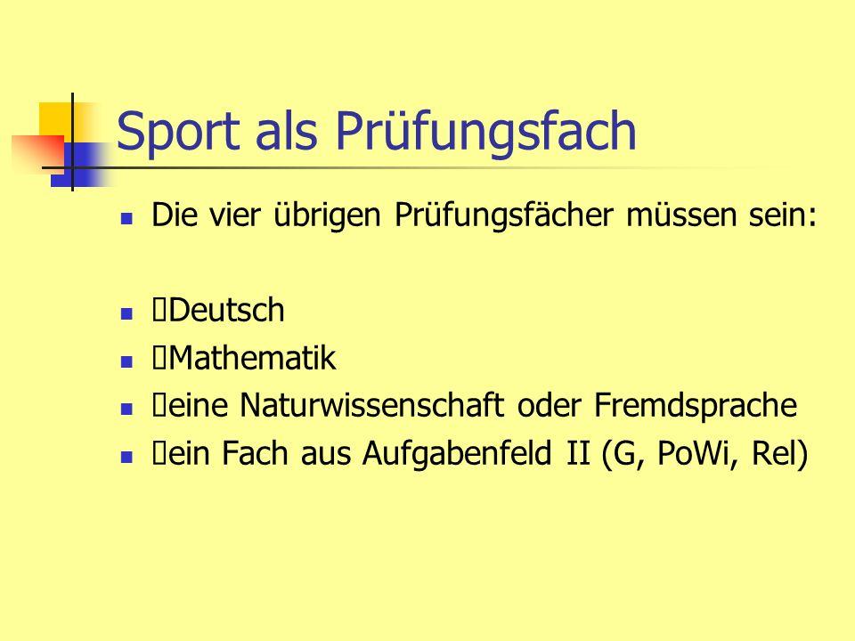 Sport als Prüfungsfach