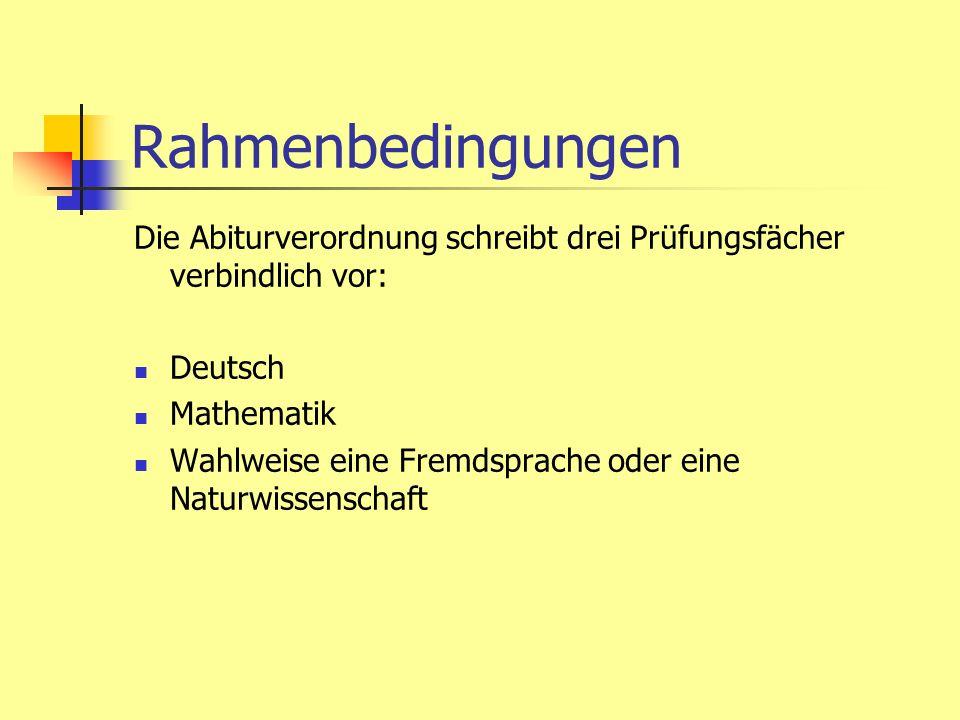Rahmenbedingungen Die Abiturverordnung schreibt drei Prüfungsfächer verbindlich vor: Deutsch. Mathematik.