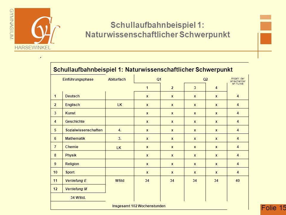 Schullaufbahnbeispiel 1: Naturwissenschaftlicher Schwerpunkt