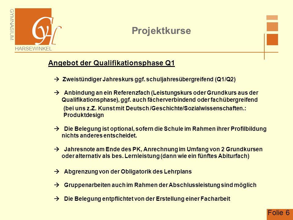 Projektkurse Angebot der Qualifikationsphase Q1