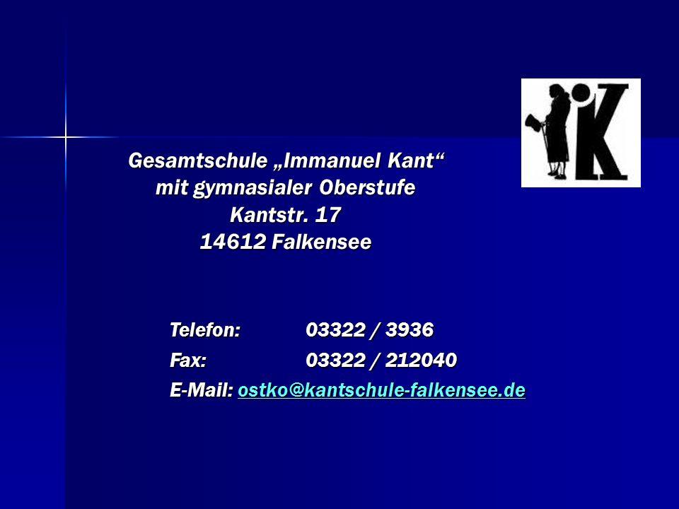 """Gesamtschule """"Immanuel Kant mit gymnasialer Oberstufe Kantstr"""