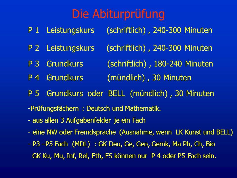 Die Abiturprüfung P 1 Leistungskurs (schriftlich) , 240-300 Minuten
