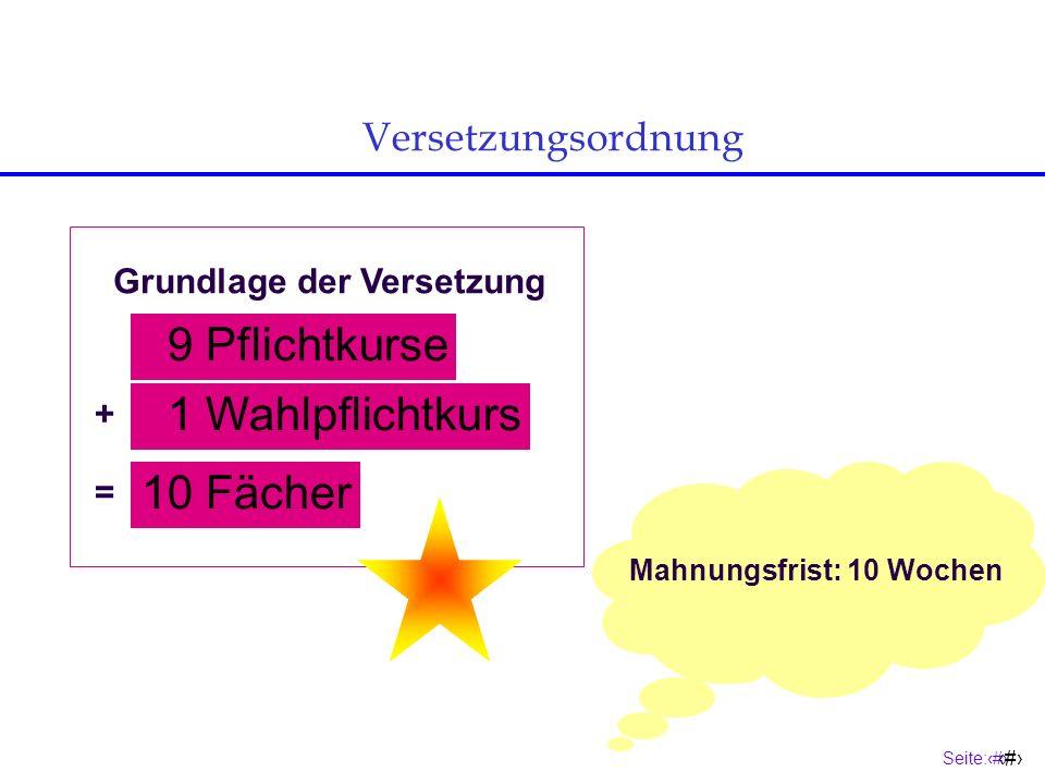 9 Pflichtkurse 1 Wahlpflichtkurs 10 Fächer Versetzungsordnung