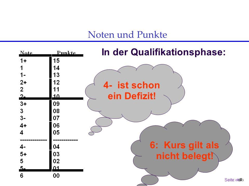 In der Qualifikationsphase: 6: Kurs gilt als nicht belegt!