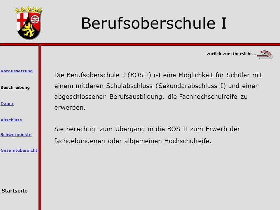 Berufsoberschule I zurück zur Übersicht... Voraussetzung.