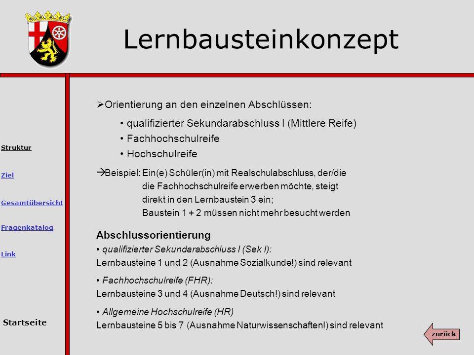 Lernbausteinkonzept Orientierung an den einzelnen Abschlüssen: