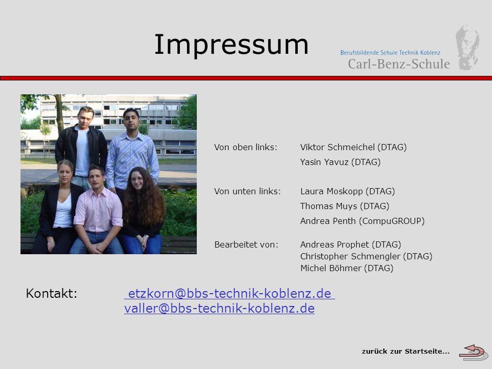 Impressum Von oben links: Viktor Schmeichel (DTAG) Yasin Yavuz (DTAG) Von unten links: Laura Moskopp (DTAG)