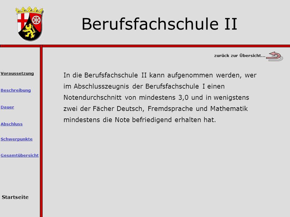 Berufsfachschule II zurück zur Übersicht...