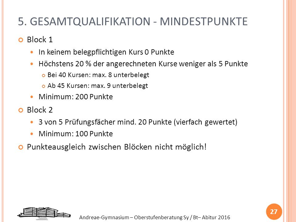 5. GESAMTQUALIFIKATION - MINDESTPUNKTE