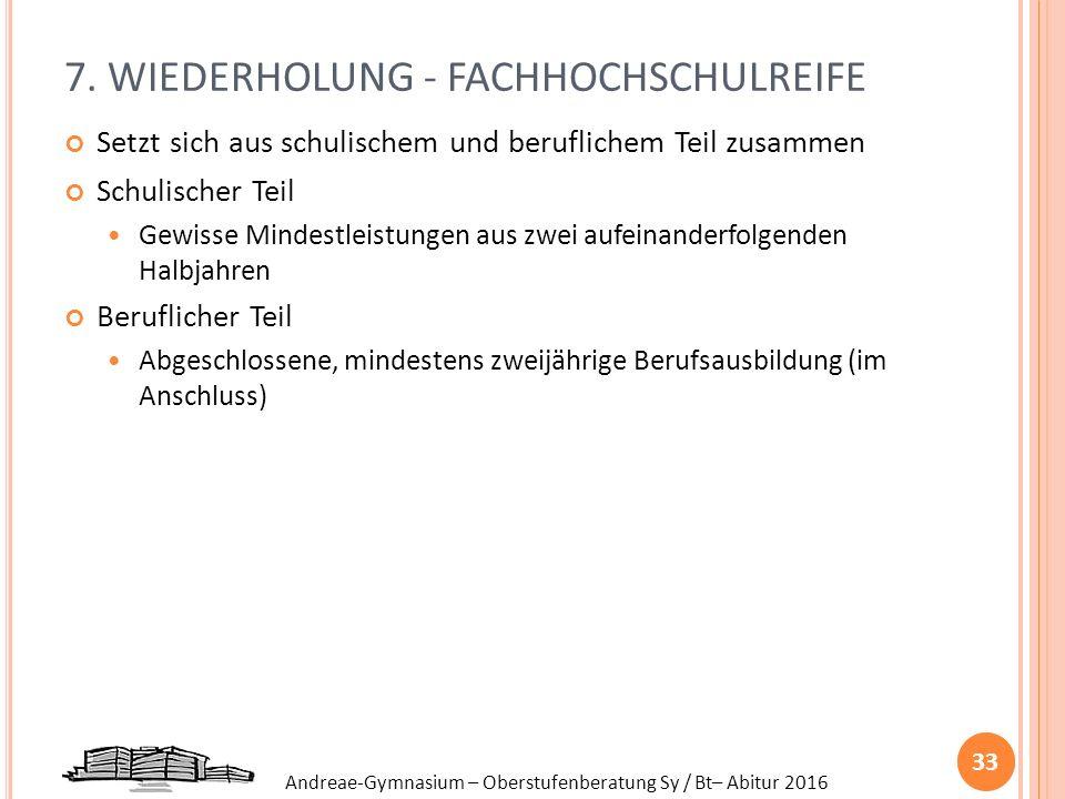 7. WIEDERHOLUNG - FACHHOCHSCHULREIFE