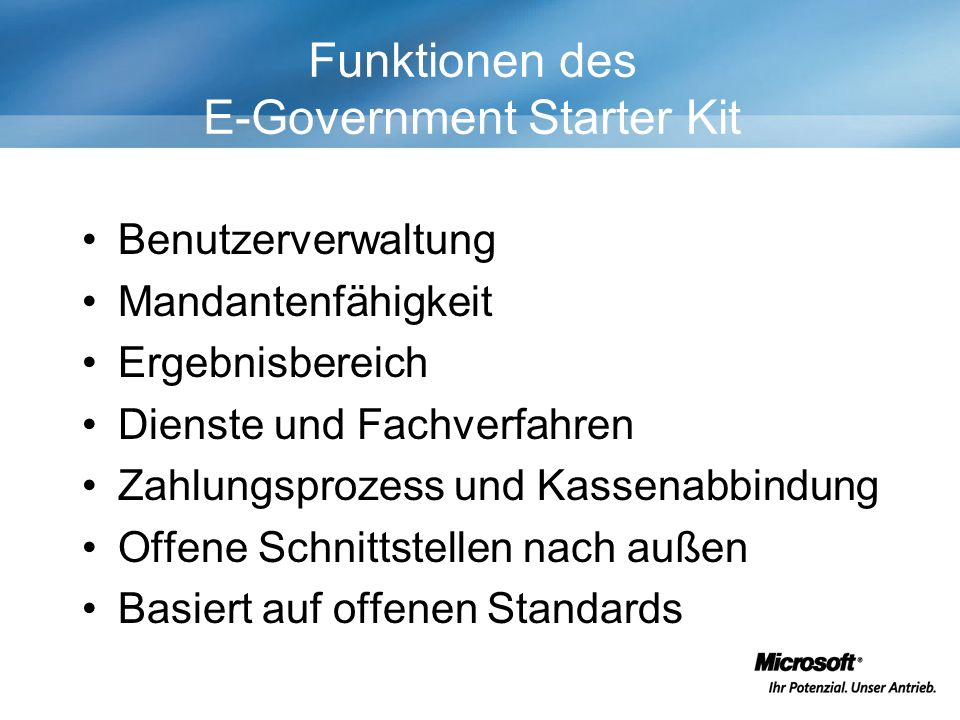 Funktionen des E-Government Starter Kit