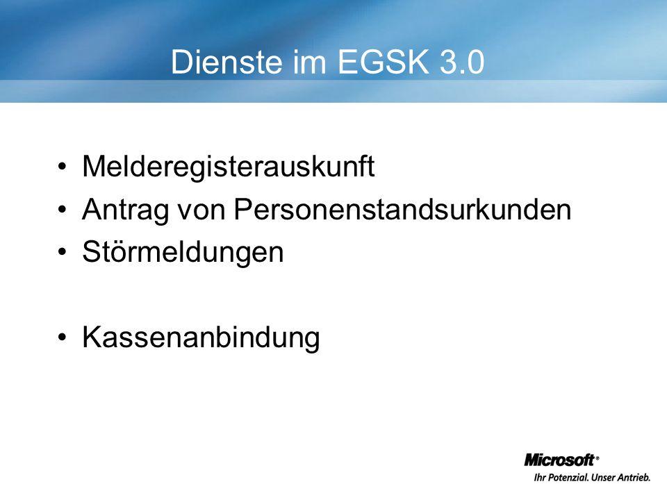 Dienste im EGSK 3.0 Melderegisterauskunft