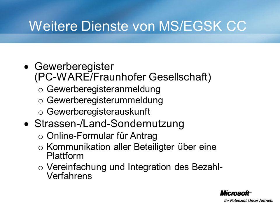 Weitere Dienste von MS/EGSK CC