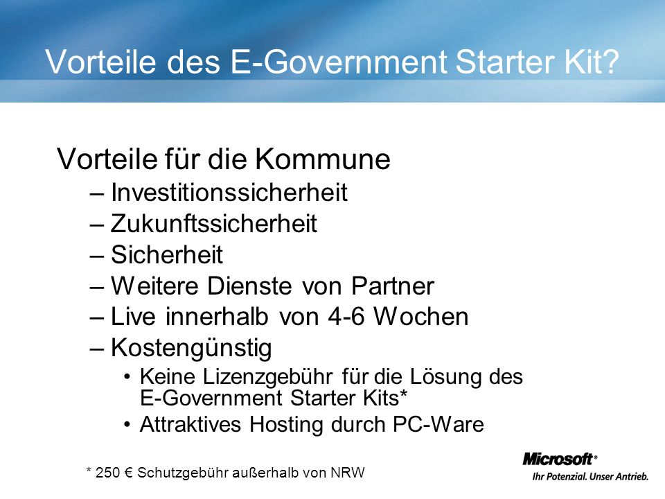 Vorteile des E-Government Starter Kit