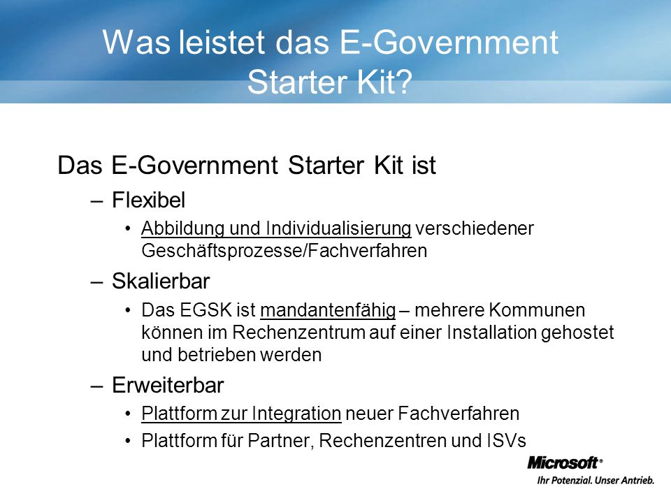 Was leistet das E-Government Starter Kit