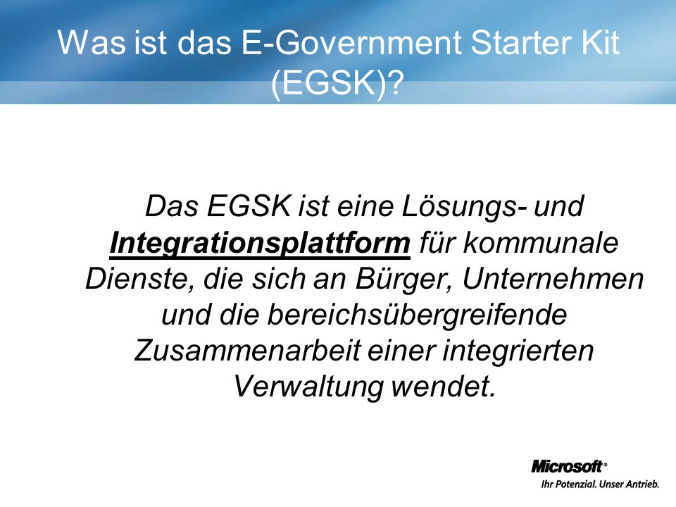 Was ist das E-Government Starter Kit (EGSK)