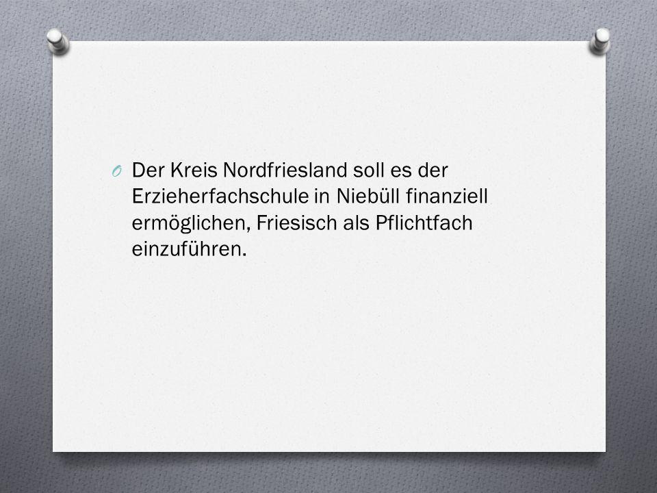 Der Kreis Nordfriesland soll es der Erzieherfachschule in Niebüll finanziell ermöglichen, Friesisch als Pflichtfach einzuführen.