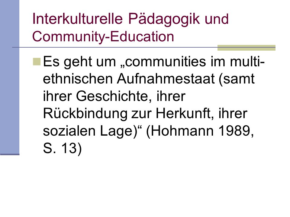 Interkulturelle Pädagogik und Community-Education