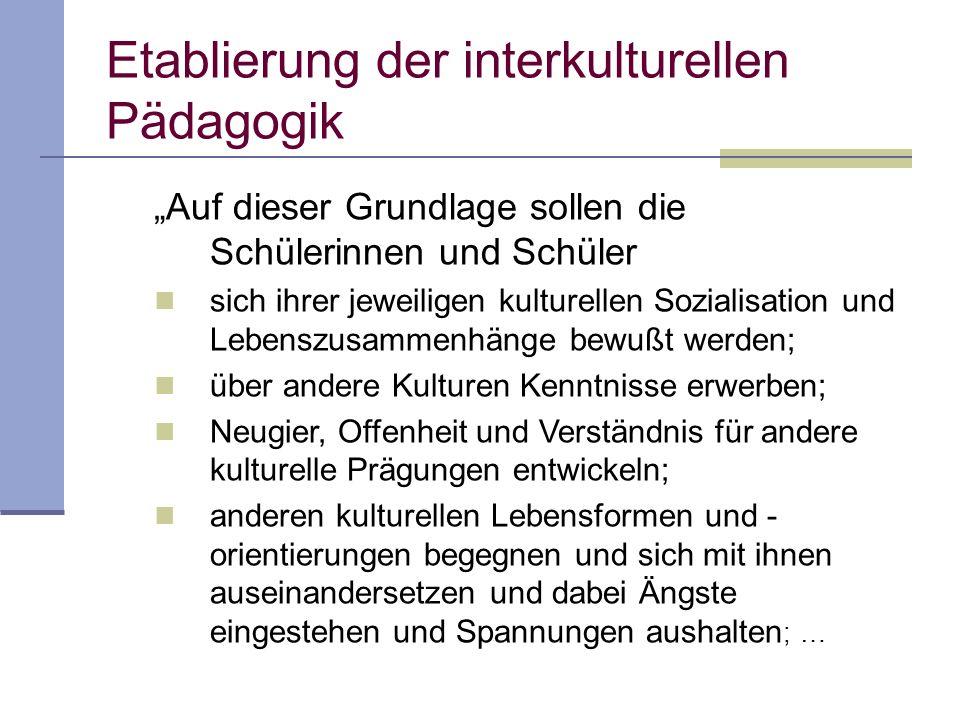 Etablierung der interkulturellen Pädagogik