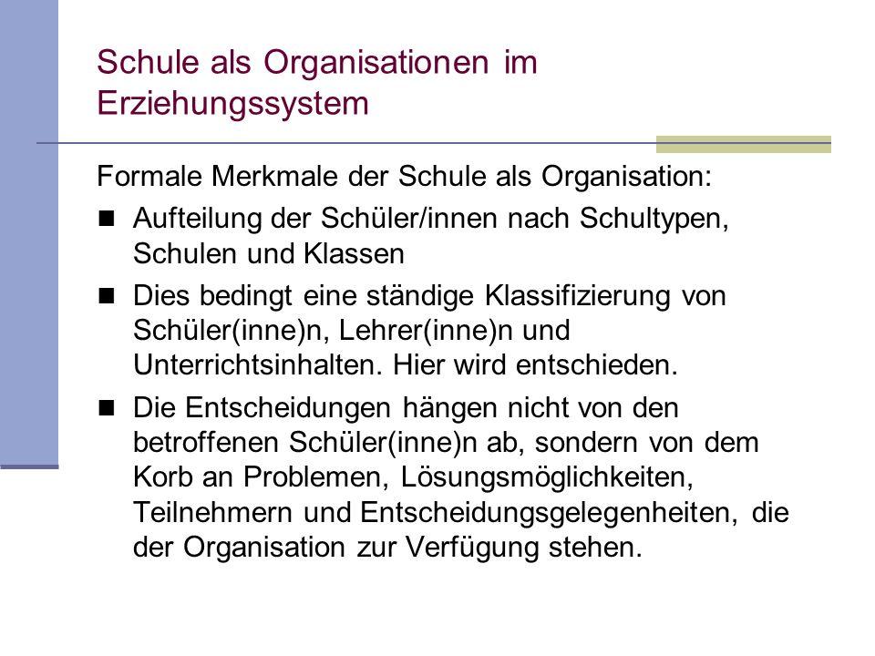 Schule als Organisationen im Erziehungssystem