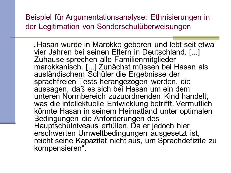 Beispiel für Argumentationsanalyse: Ethnisierungen in der Legitimation von Sonderschulüberweisungen