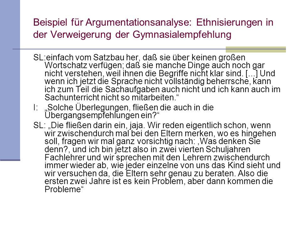 Beispiel für Argumentationsanalyse: Ethnisierungen in der Verweigerung der Gymnasialempfehlung