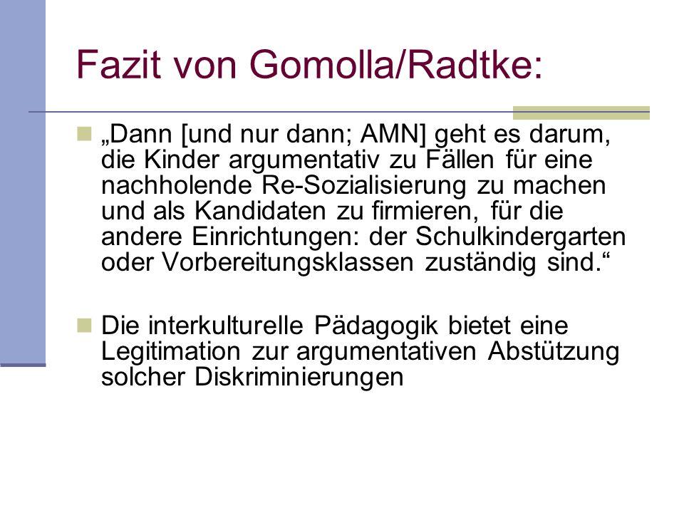 Fazit von Gomolla/Radtke: