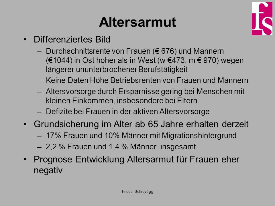Altersarmut Differenziertes Bild