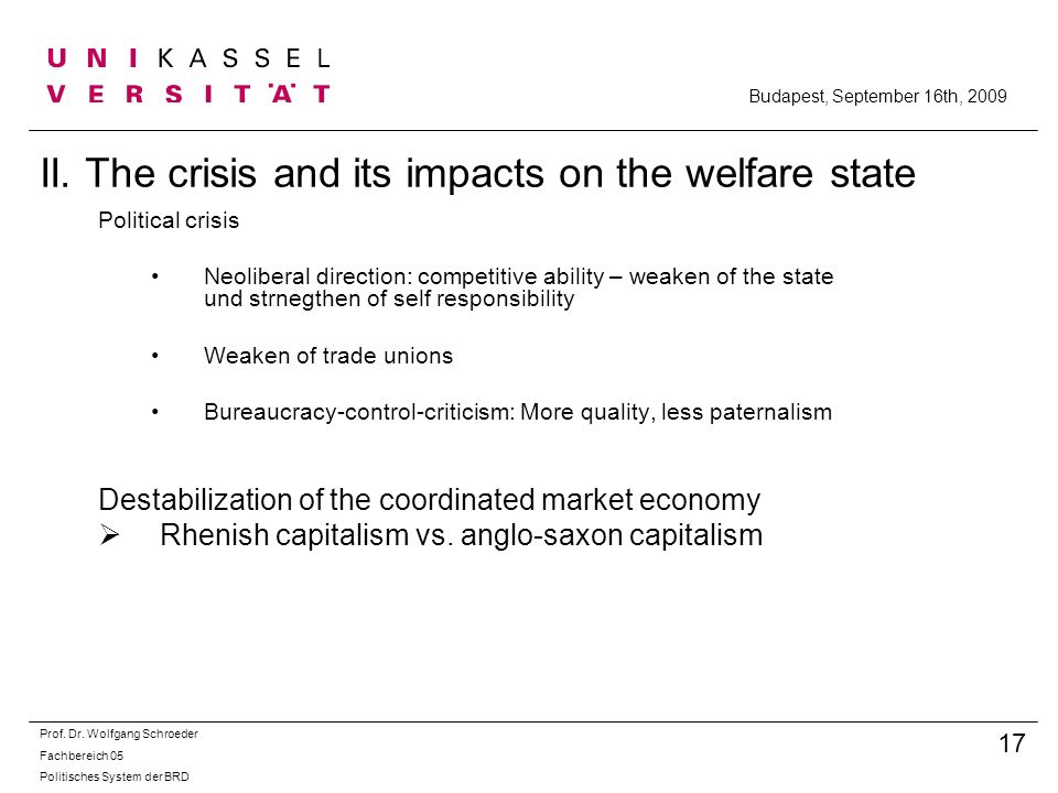 II. The crisis and its impacts on the welfare state