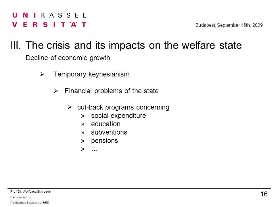 III. The crisis and its impacts on the welfare state
