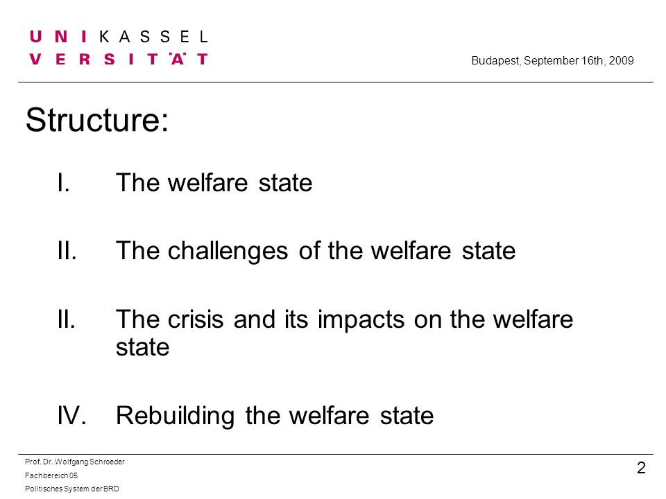 Structure: The welfare state The challenges of the welfare state