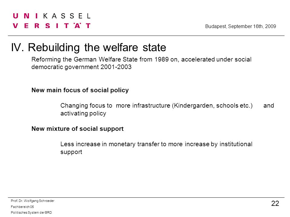IV. Rebuilding the welfare state