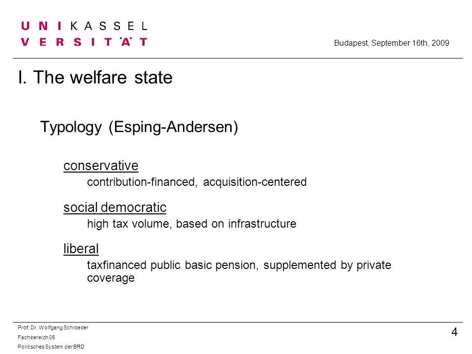 I. The welfare state Typology (Esping-Andersen) conservative