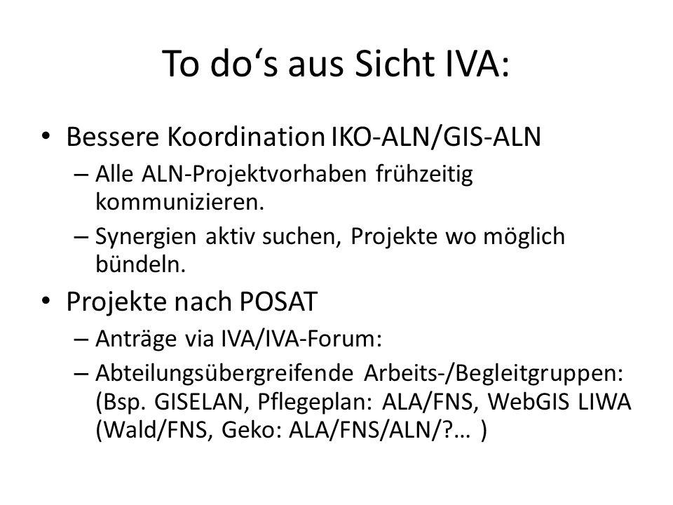 To do's aus Sicht IVA: Bessere Koordination IKO-ALN/GIS-ALN