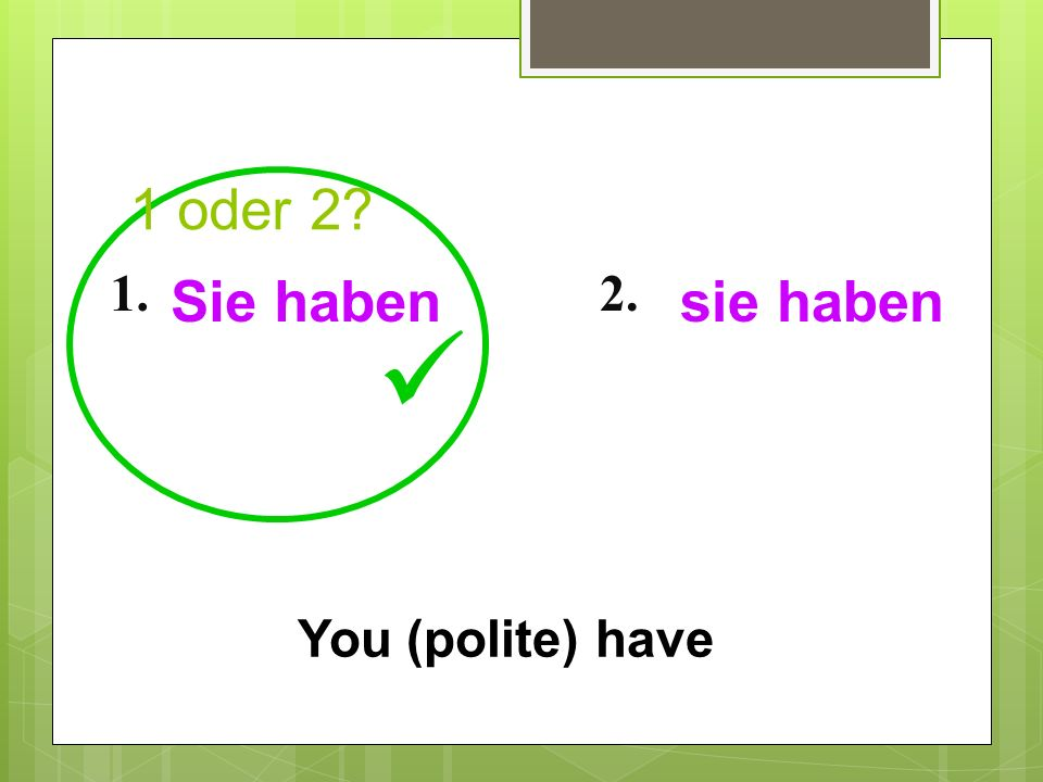 1 oder 2 1. Sie haben 2. sie haben  You (polite) have 18