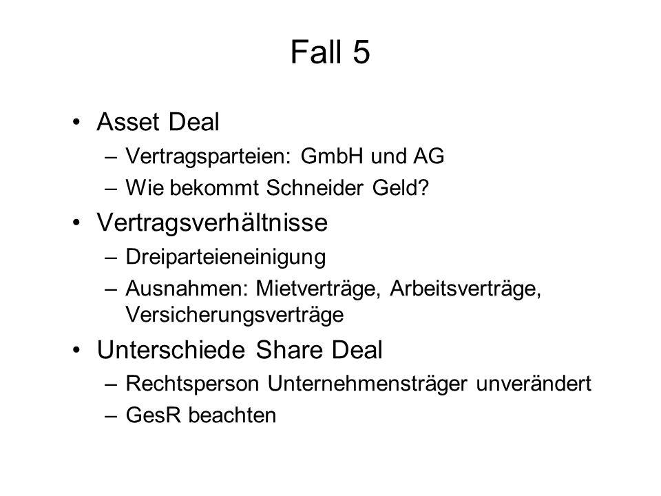 Fall 5 Asset Deal Vertragsverhältnisse Unterschiede Share Deal