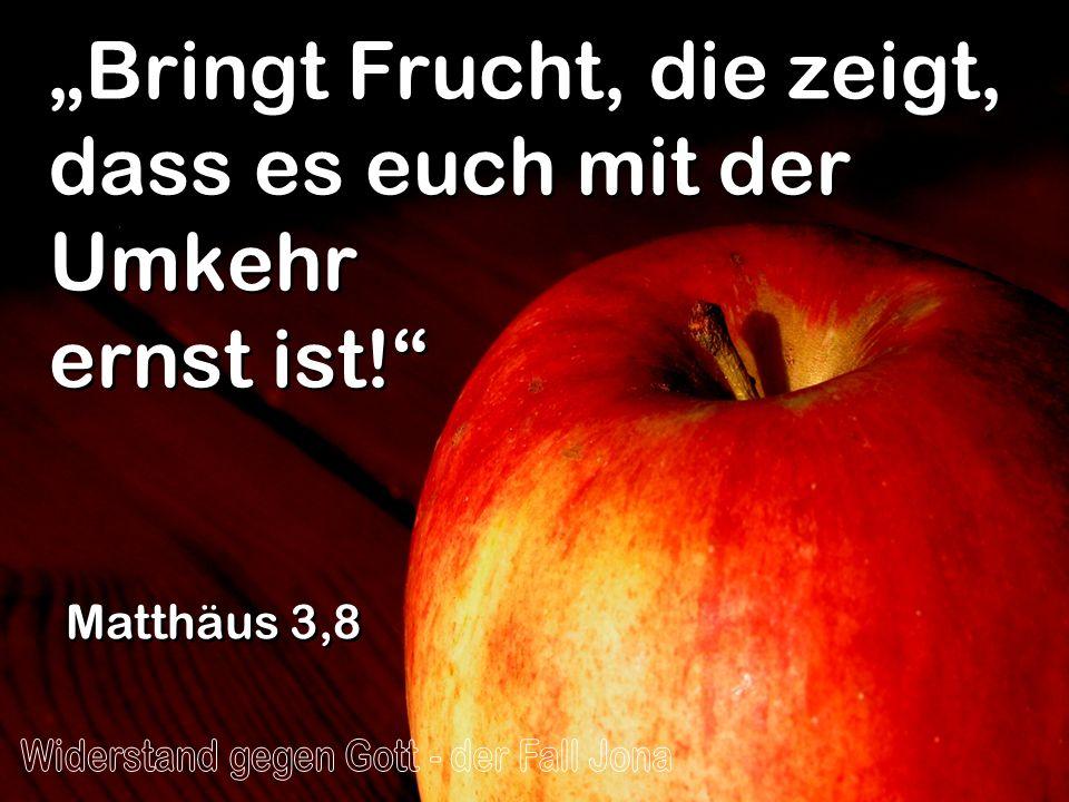 """""""Bringt Frucht, die zeigt, dass es euch mit der Umkehr ernst ist!"""
