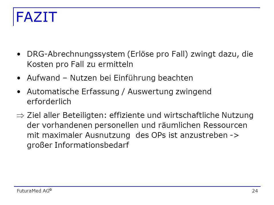 FAZIT DRG-Abrechnungssystem (Erlöse pro Fall) zwingt dazu, die Kosten pro Fall zu ermitteln. Aufwand – Nutzen bei Einführung beachten.