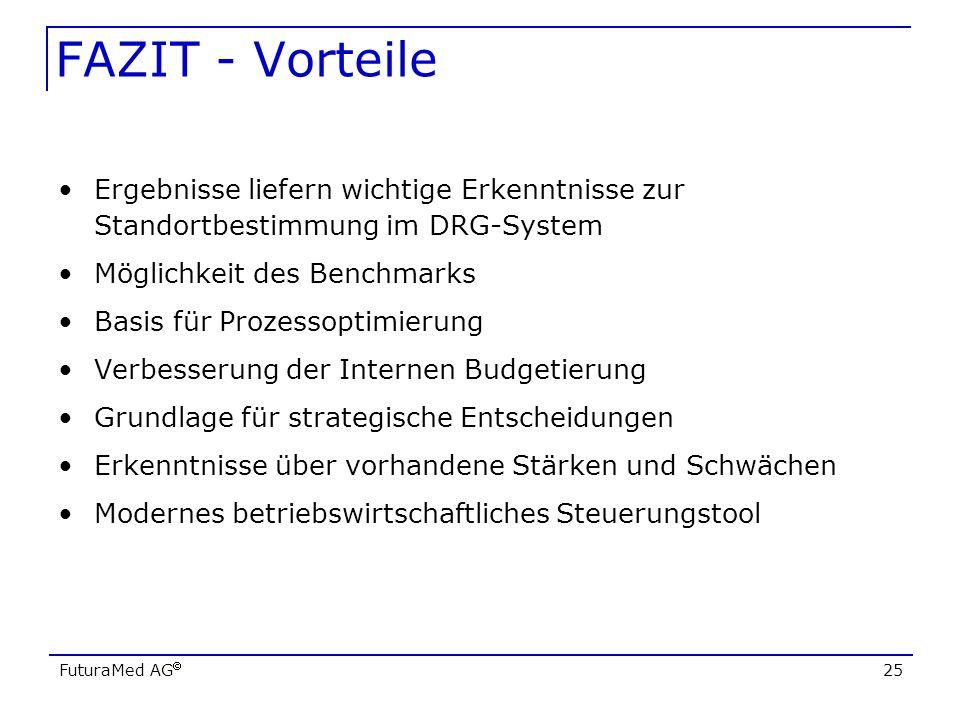 FAZIT - Vorteile Ergebnisse liefern wichtige Erkenntnisse zur Standortbestimmung im DRG-System. Möglichkeit des Benchmarks.