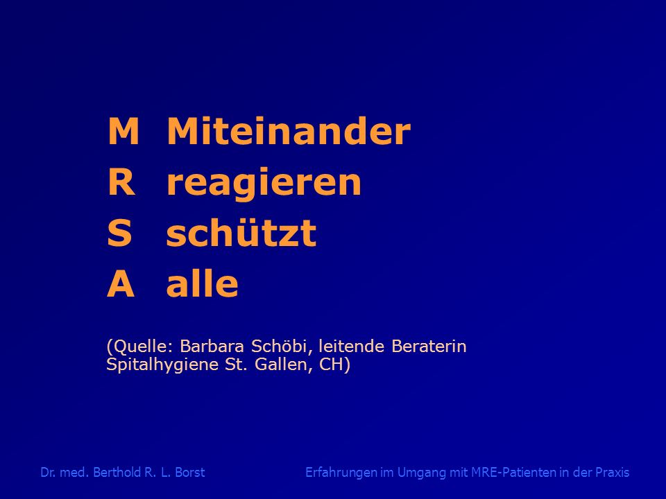 M Miteinander R reagieren S schützt A alle