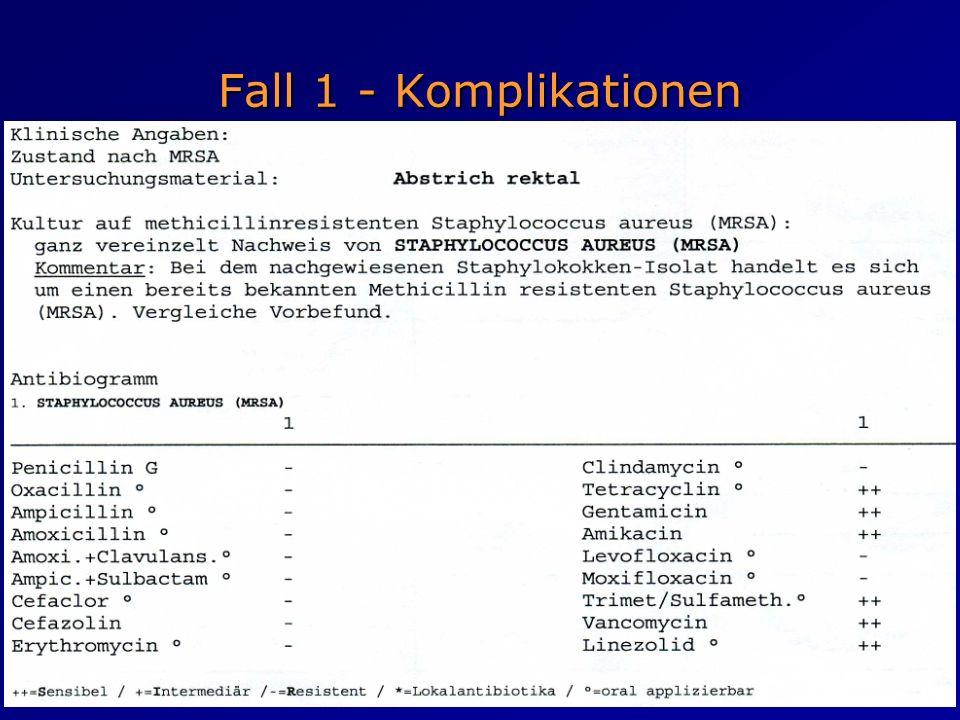 Fall 1 - Komplikationen Insgesamt 3x Eradikations- versuch ohne Erfolg! (Nachweis MRSA im Rachen- und Rektalabstrich)