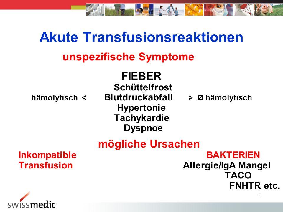 Akute Transfusionsreaktionen